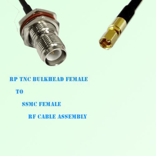 RP TNC Bulkhead Female to SSMC Female RF Cable Assembly