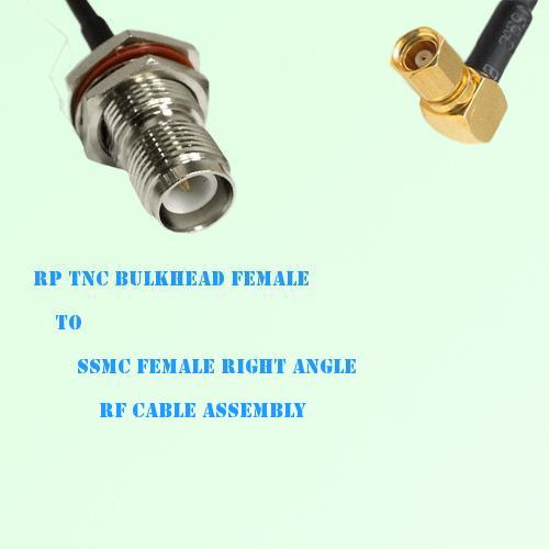 RP TNC Bulkhead Female to SSMC Female Right Angle RF Cable Assembly