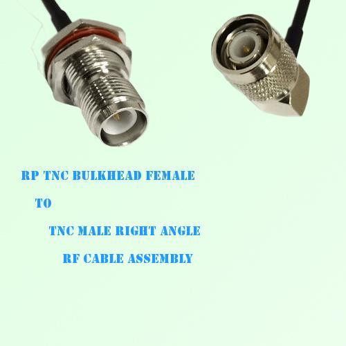 RP TNC Bulkhead Female to TNC Male Right Angle RF Cable Assembly