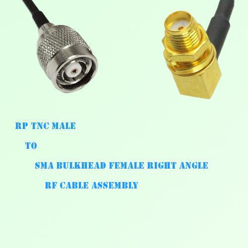 RP TNC Male to SMA Bulkhead Female Right Angle RF Cable Assembly