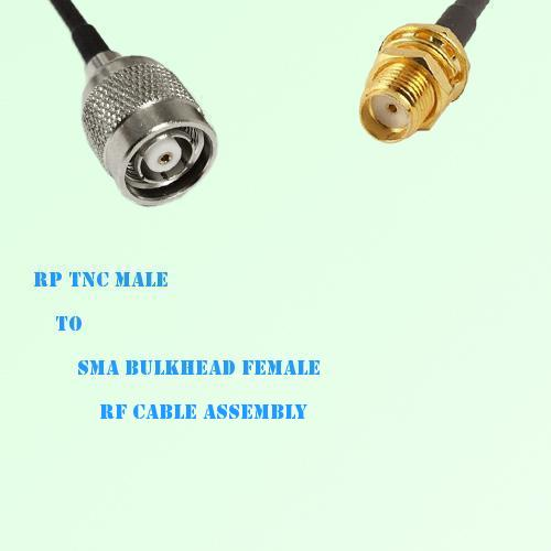 RP TNC Male to SMA Bulkhead Female RF Cable Assembly