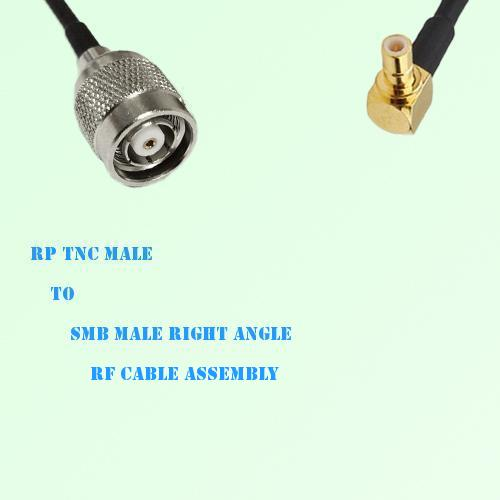RP TNC Male to SMB Male Right Angle RF Cable Assembly