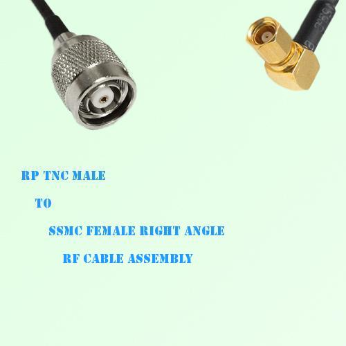 RP TNC Male to SSMC Female Right Angle RF Cable Assembly