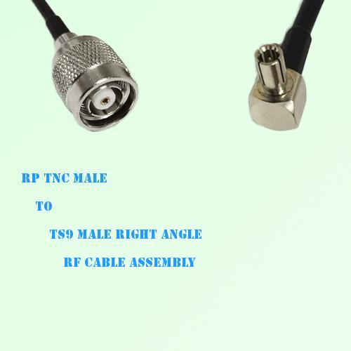 RP TNC Male to TS9 Male Right Angle RF Cable Assembly