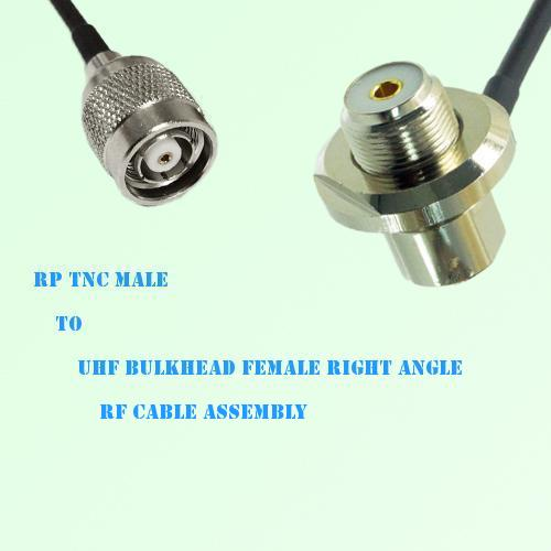 RP TNC Male to UHF Bulkhead Female Right Angle RF Cable Assembly