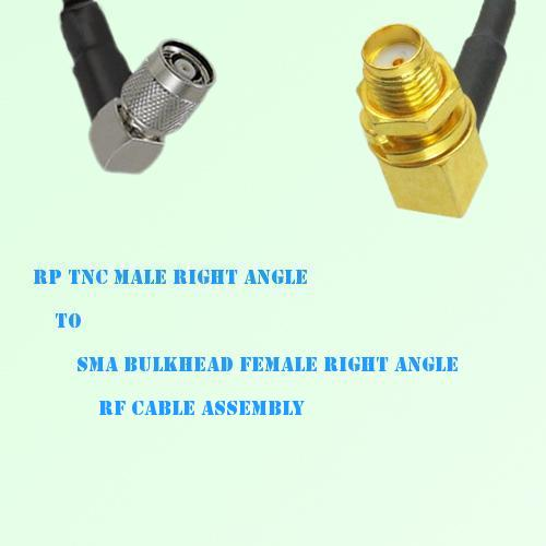 RP TNC Male R/A to SMA Bulkhead Female R/A RF Cable Assembly
