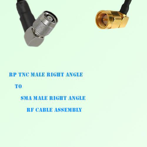 RP TNC Male Right Angle to SMA Male Right Angle RF Cable Assembly
