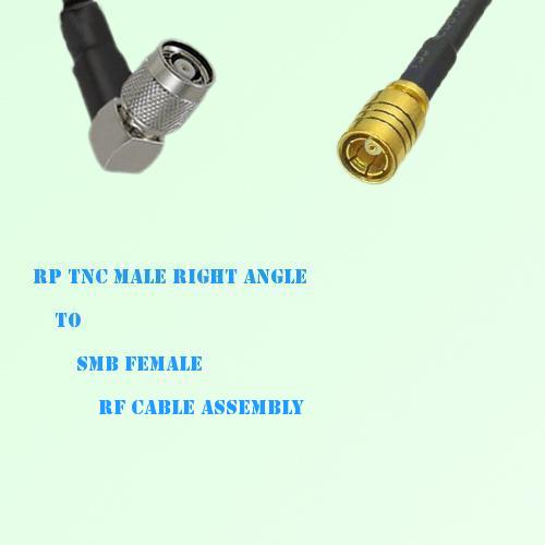 RP TNC Male Right Angle to SMB Female RF Cable Assembly