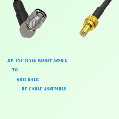 RP TNC Male Right Angle to SMB Male RF Cable Assembly