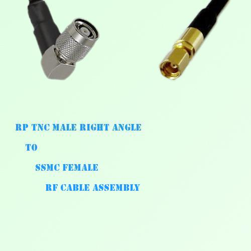 RP TNC Male Right Angle to SSMC Female RF Cable Assembly