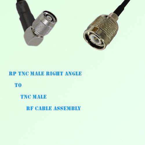RP TNC Male Right Angle to TNC Male RF Cable Assembly