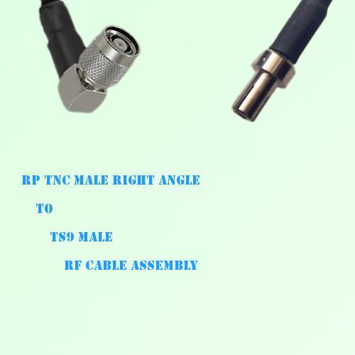 RP TNC Male Right Angle to TS9 Male RF Cable Assembly