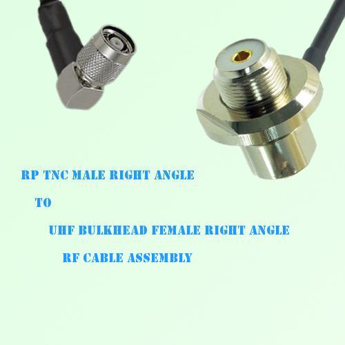 RP TNC Male R/A to UHF Bulkhead Female R/A RF Cable Assembly
