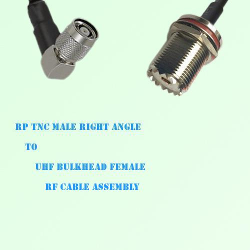 RP TNC Male Right Angle to UHF Bulkhead Female RF Cable Assembly