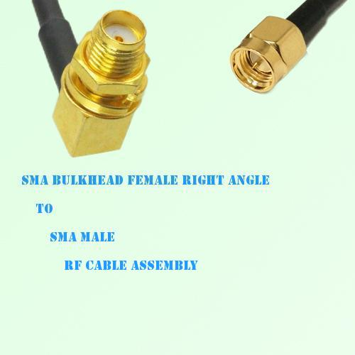 SMA Bulkhead Female Right Angle to SMA Male RF Cable Assembly