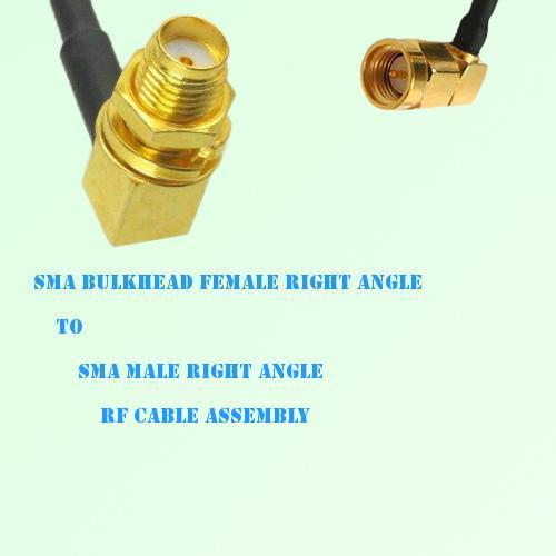SMA Bulkhead Female R/A to SMA Male R/A RF Cable Assembly