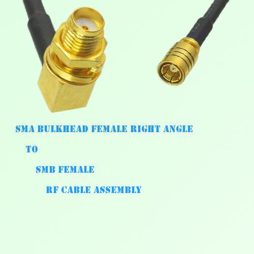 SMA Bulkhead Female Right Angle to SMB Female RF Cable Assembly