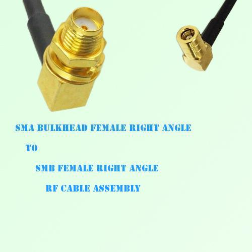 SMA Bulkhead Female R/A to SMB Female R/A RF Cable Assembly