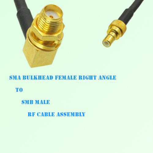 SMA Bulkhead Female Right Angle to SMB Male RF Cable Assembly