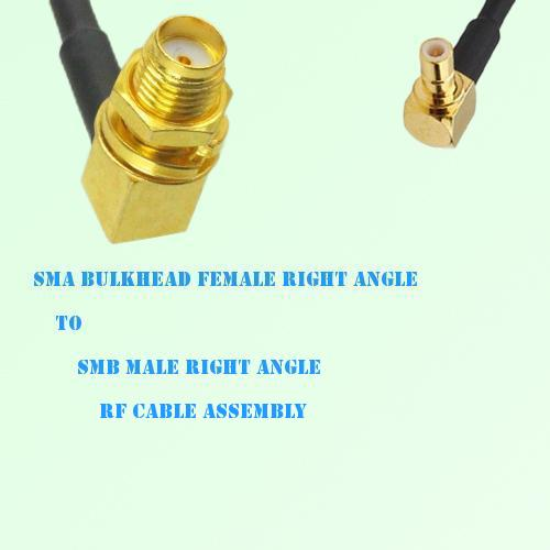 SMA Bulkhead Female R/A to SMB Male R/A RF Cable Assembly