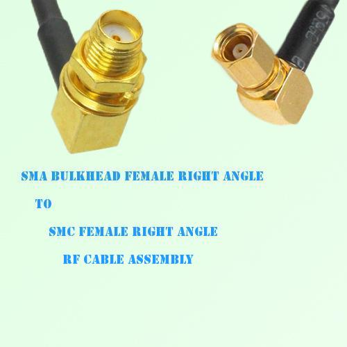 SMA Bulkhead Female R/A to SMC Female R/A RF Cable Assembly