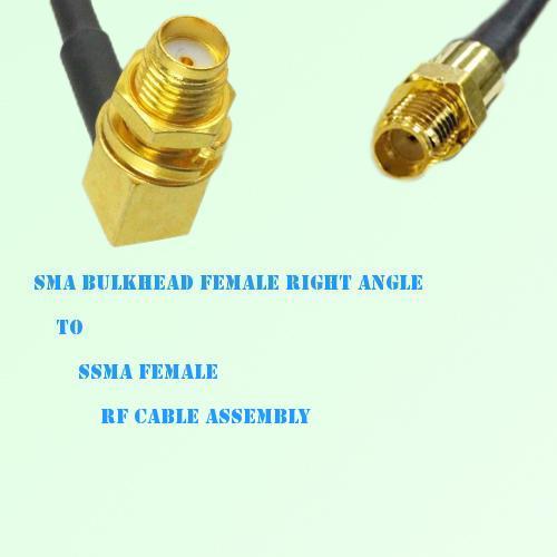 SMA Bulkhead Female Right Angle to SSMA Female RF Cable Assembly