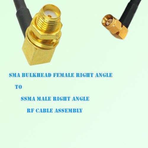 SMA Bulkhead Female R/A to SSMA Male R/A RF Cable Assembly