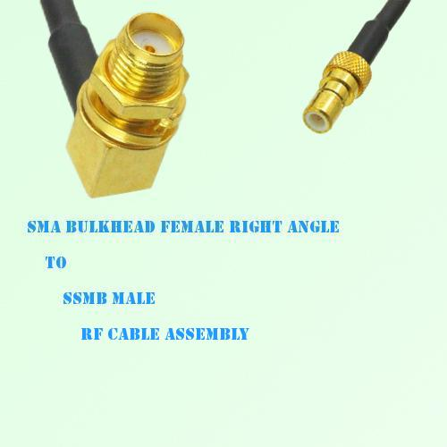 SMA Bulkhead Female Right Angle to SSMB Male RF Cable Assembly