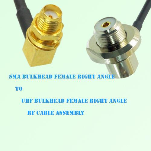 SMA Bulkhead Female R/A to UHF Bulkhead Female R/A RF Cable Assembly