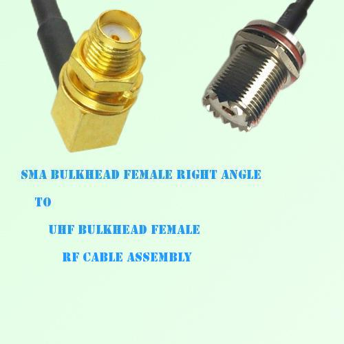 SMA Bulkhead Female R/A to UHF Bulkhead Female RF Cable Assembly