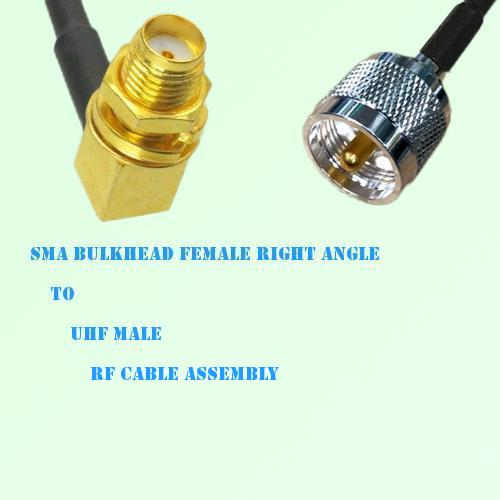 SMA Bulkhead Female Right Angle to UHF Male RF Cable Assembly