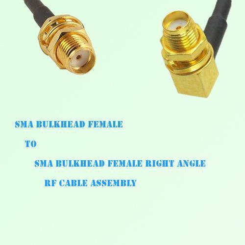 SMA Bulkhead Female to SMA Bulkhead Female R/A RF Cable Assembly