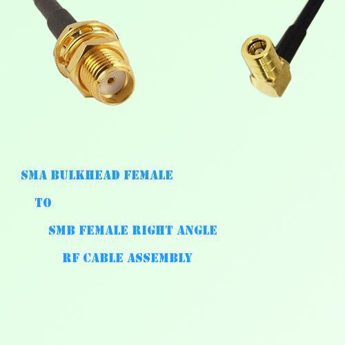 SMA Bulkhead Female to SMB Female Right Angle RF Cable Assembly