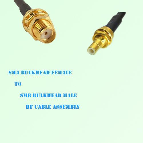 SMA Bulkhead Female to SMB Bulkhead Male RF Cable Assembly