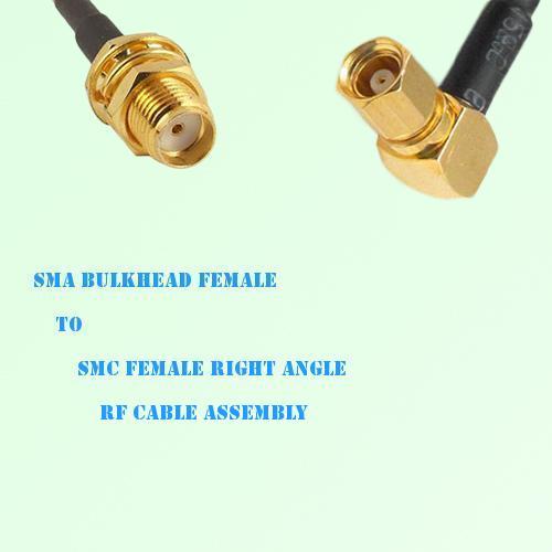SMA Bulkhead Female to SMC Female Right Angle RF Cable Assembly