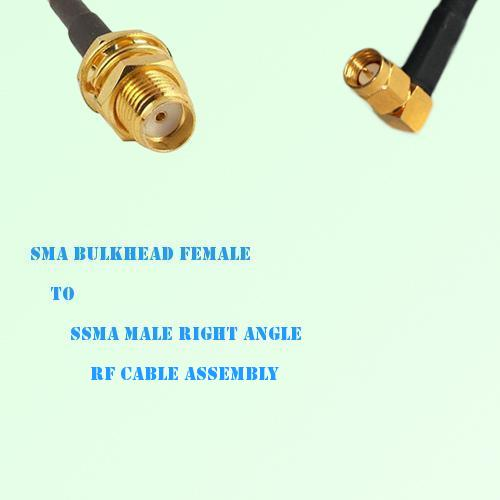 SMA Bulkhead Female to SSMA Male Right Angle RF Cable Assembly