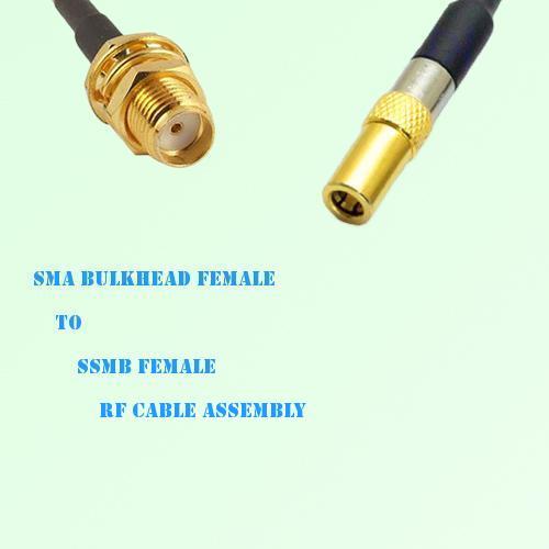 SMA Bulkhead Female to SSMB Female RF Cable Assembly