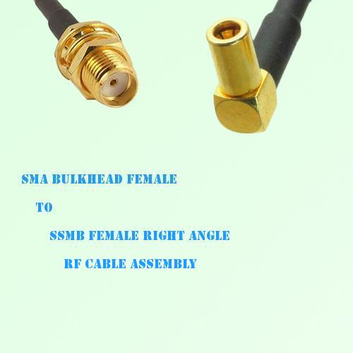 SMA Bulkhead Female to SSMB Female Right Angle RF Cable Assembly
