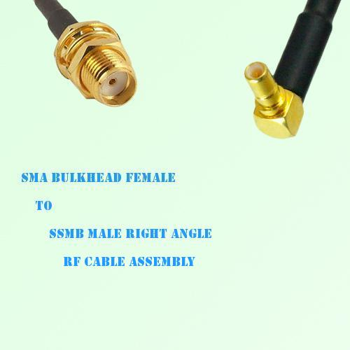 SMA Bulkhead Female to SSMB Male Right Angle RF Cable Assembly