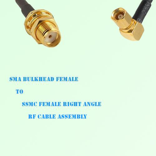 SMA Bulkhead Female to SSMC Female Right Angle RF Cable Assembly