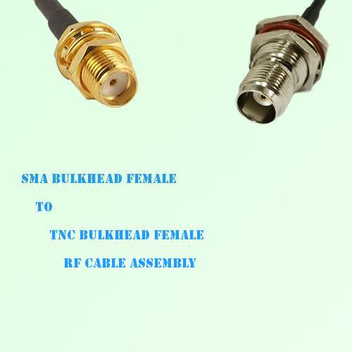 SMA Bulkhead Female to TNC Bulkhead Female RF Cable Assembly