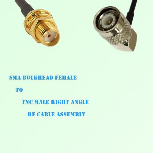 SMA Bulkhead Female to TNC Male Right Angle RF Cable Assembly