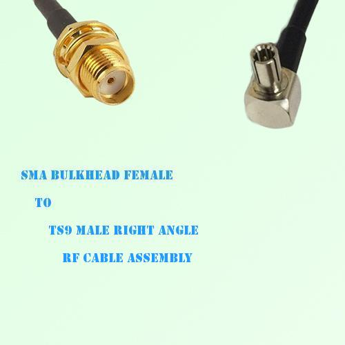 SMA Bulkhead Female to TS9 Male Right Angle RF Cable Assembly