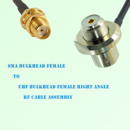 SMA Bulkhead Female to UHF Bulkhead Female R/A RF Cable Assembly