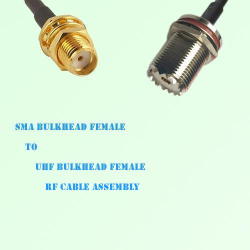 SMA Bulkhead Female to UHF Bulkhead Female RF Cable Assembly