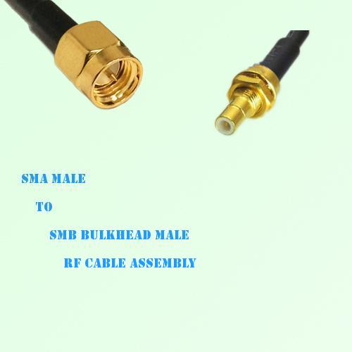 SMA Male to SMB Bulkhead Male RF Cable Assembly