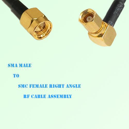 SMA Male to SMC Female Right Angle RF Cable Assembly