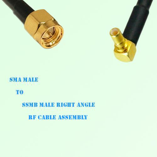 SMA Male to SSMB Male Right Angle RF Cable Assembly