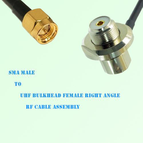 SMA Male to UHF Bulkhead Female Right Angle RF Cable Assembly