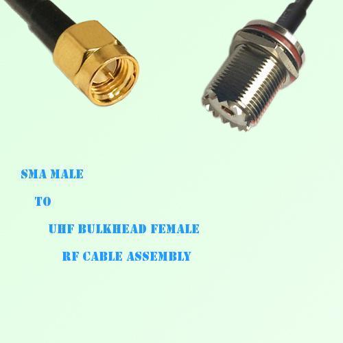 SMA Male to UHF Bulkhead Female RF Cable Assembly